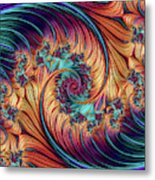 Double Fractal Spiral Metal Print