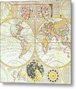 Double Hemisphere World Map Metal Print
