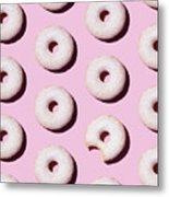 Doughnuts On Pink Background Metal Print