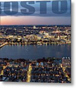 Downtown Boston At Night With Charkes River In The Middle Metal Print