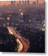 Downtown Los Angeles Skyline At Metal Print
