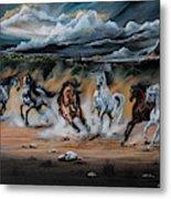 Dream Horse Series 125 - Flat Bottom River Wild Horse Herd Metal Print