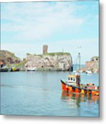 Dunbar Castle Ruins, Harbour And Fishing Boats Metal Print