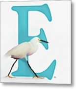 E Is For Egret Metal Print