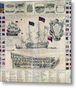 Early 18th Century British Man Of War Ship Diagram Metal Print