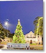 Early Morning Panorama Of Christmas Tree And Lights At The Alamo Mission - San Antonio Texas Metal Print