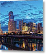Early Morning Panorama Of Downtown Austin From South Lamar Bridge Over Lady Bird Lake - Austin Texas Metal Print