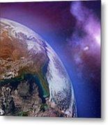 Earth With Stars Metal Print