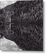 Echo Lake Reflection Black And White Metal Print