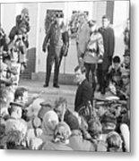 Edward Kennedy Entering Courthouse Amid Metal Print