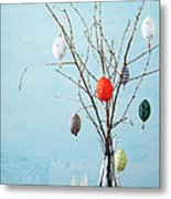 Egg-shaped Decorations On Branches Metal Print