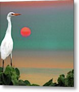 Egret At Evening Metal Print