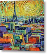 Eiffel Tower And Paris Rooftops In Sunlight Textural Impressionist Stylized Cityscape Mona Edulesco Metal Print