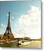 Eiffel Tower And The River Seine Metal Print