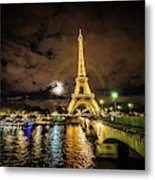 Eiffell Tower At Night After The Storm Passed Metal Print