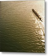 Eight Person Rowing Team In Shell With Metal Print