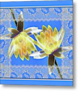 Electric Yellow Water Lilies Metal Print