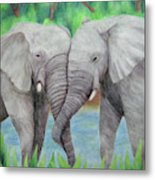 Elephant Couple Metal Print
