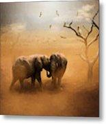 Elephants At Sunset 072 - Painting Metal Print