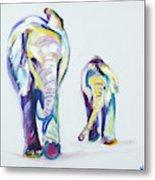 Elephants Side By Side Metal Print