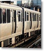 Elevated Train Descends Into Subway Metal Print