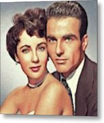 Elizabeth Taylor And Montgomery Clift, Hollywood Legends Metal Print