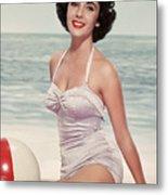 Elizabeth Taylor In A Bathing Suit Metal Print