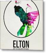 Elton Watercolor Poster Metal Print