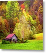 Embraced In Autumn Color Painting Metal Print