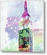 Empire State Building Colorful Watercolor Metal Print