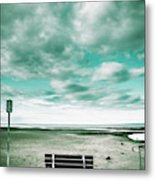 Empty Beach Bench Metal Print
