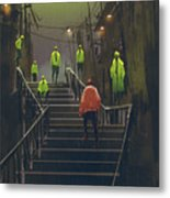 Encounter Between Red Man And Crowd Of Metal Print