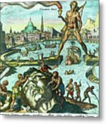 Engraving Of The Colossus Of Rhodes Metal Print