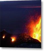 Eruption Of Stromboli Volcano, Italy Metal Print