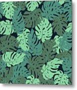Exotic Leaves, Rainforest. Seamless Metal Print