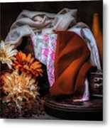 Fabric And Flowers Metal Print