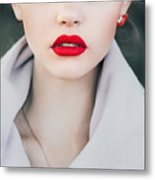 Face Of A Beautiful Girl With Red Lips Metal Print