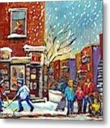 Face Off Street Hockey At The Corner Dep Snow Falling Streets Of Montreal Quebec Artist C Spandau Metal Print