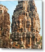 Faces On Bayon Temple Cambodia Metal Print