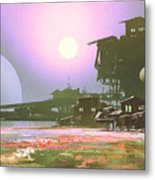 Factory And Industry In Flower Metal Print