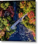 Fall Aerial With Bridge Metal Print