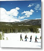 Family Carrying Christmas Tree In Forest Metal Print