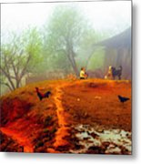 Family On A Hill In Sapa, Vietnam Metal Print