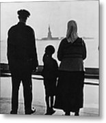 Family Views Statue Of Liberty From Metal Print
