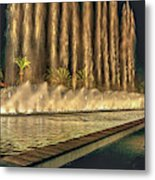 Fantacy Fountain Night Lit San Pedro Gateway Metal Print