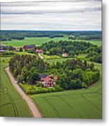 Farms And Fields In Sweden North Europe Metal Print