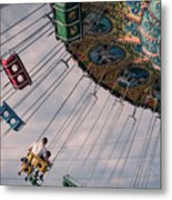 Father And Son On The Swings Metal Print