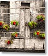 Fenced Flowers Metal Print