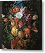 Festoon Of Fruit And Flowers, 1670 Metal Print