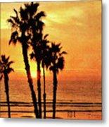 Fiery California Sunset Oceanside Beach Metal Print
